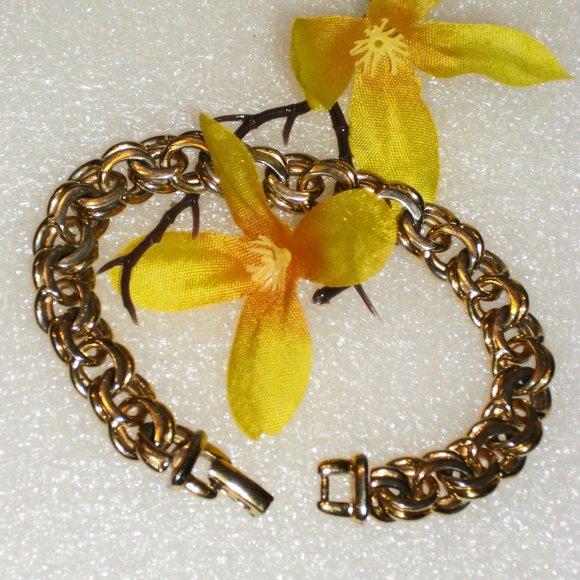 Vintage Monet Double Link Gold Tone Bracelet